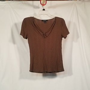 Army Green Tee Shirt with Neck Detail